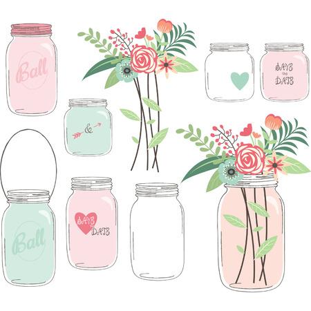 mason: Wedding Flower with Mason Jar