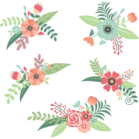bridal: Wedding Flower Bouquet Set Illustration