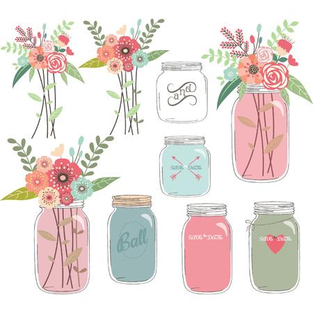 pote: Boda floral con Mason Jar