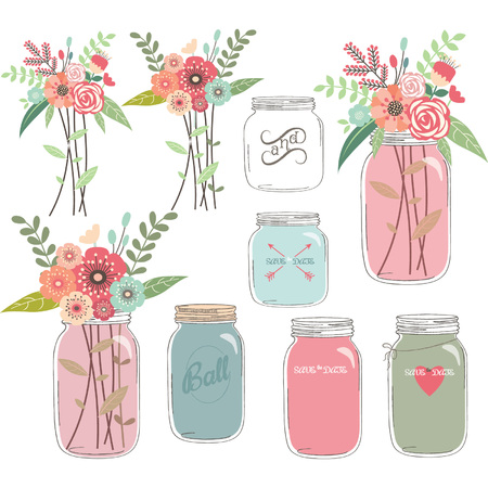 Wedding Floral with Mason Jar Illustration