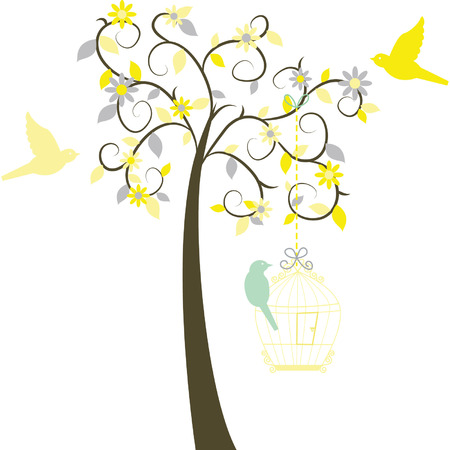 birds in tree: Love Tree with Birds Illustration