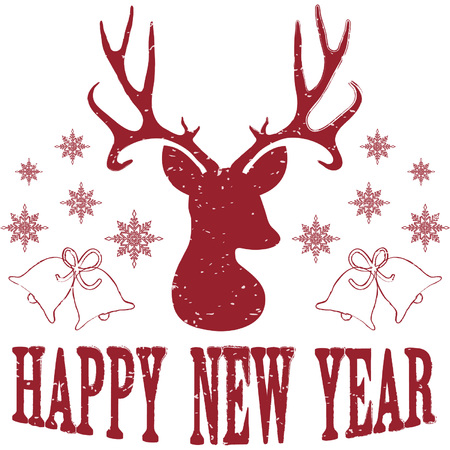 yaer: Happy New Year with Christmas Deer Illustration