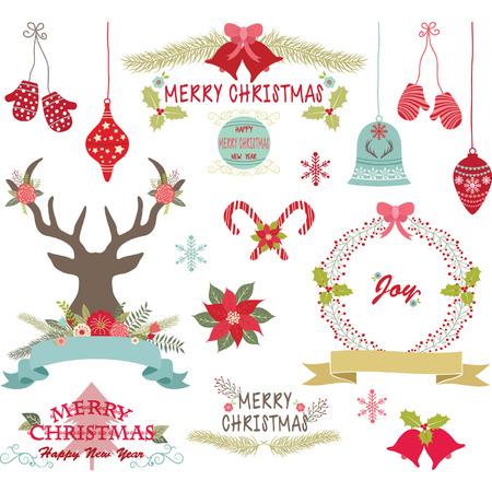 christmas ribbon: Merry Christmas,Christmas Flowers,Deer,Rustic Christmas,Wreath,Christmas decoration set. Illustration