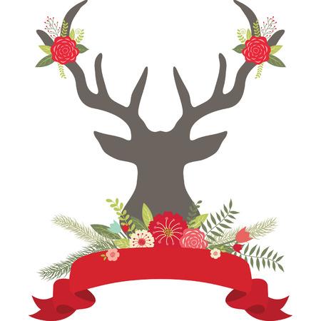 background deer: Christmas Deer Antlers with Flowers,Banner set.