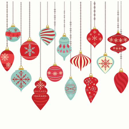 vector: Christmas Ornaments,Christmas Balls Decorations,Christmas Hanging Decoration set.