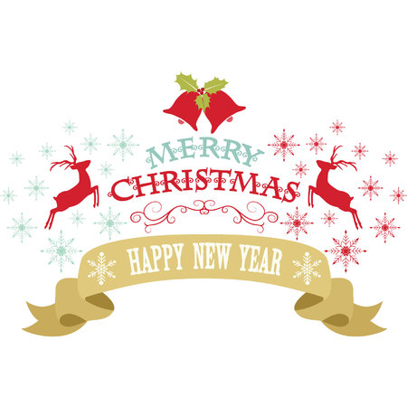 happy new years: Merry Christmas Design,Snowflakes,Christmas Bell,Reindeer,Banner,Happy New years decorative card.