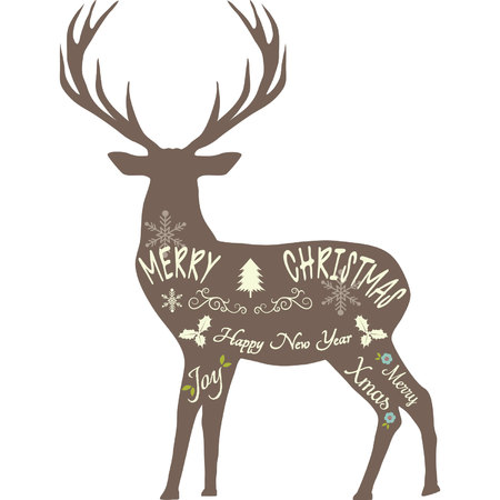 メリー クリスマスのトナカイ、トナカイのシルエット、分離された茶色のトナカイ。  イラスト・ベクター素材