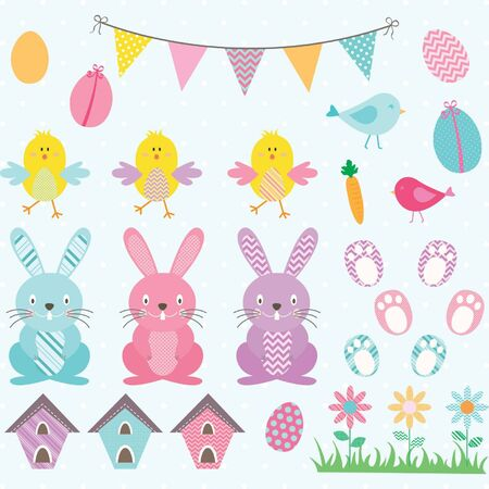 chicks: Easter Bunny Chicks Collections.Bunting Banner,Easter Eggs,Flower,Bird House. Illustration