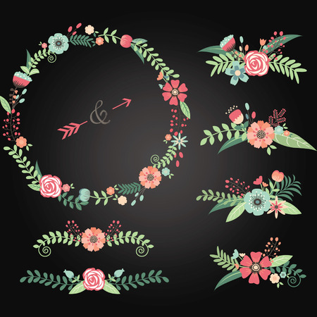 wedding  art: Chalkboard Wedding Floral Elements.