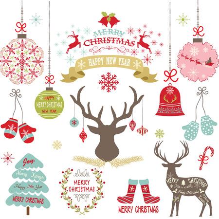 Merry Christmas,Christmas Flowers,Deer,Rustic Christmas,Wreath,Christmas decoration set. Vectores