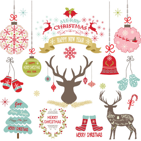 christmas parties: Merry Christmas,Christmas Flowers,Deer,Rustic Christmas,Wreath,Christmas decoration set. Illustration