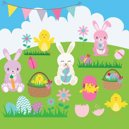 Easter Bunny set.Basket,Flower,Rabbit,Bunting,Easter Egg,Easter Chicks