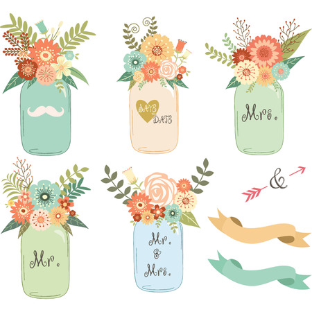 mason: Mason Jar Wedding flower Collections Illustration