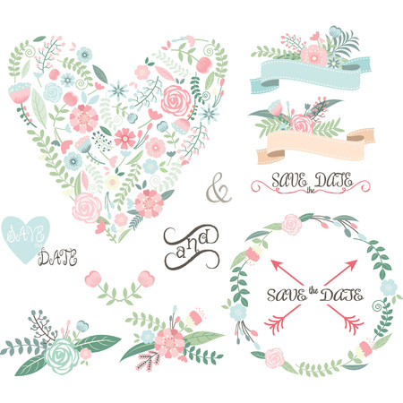 felicitaciones cumplea�os: Wedding Floral set.Labels,Ribbons,Hearts,Arrows,Flowers,Wreaths