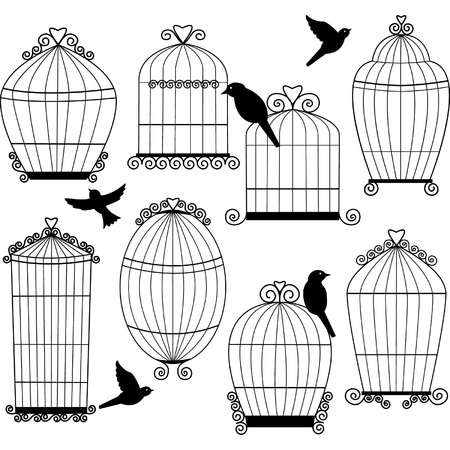 Birdcages and Birds Silhouette set