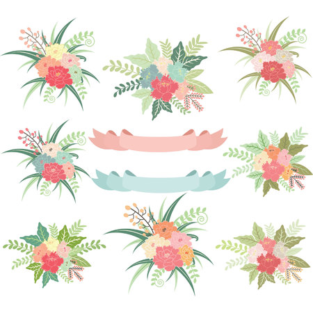 the flora: Vintage Wedding Flora with Banners Illustration