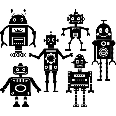 cute robot: Cute Robot Silhouette Collections