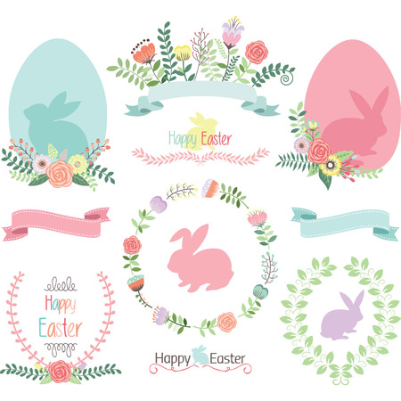 Easter Clip Art.Happy Easter.Easter Egg,Banner,Floral,Laurel,Wreath,Bunny collections.  イラスト・ベクター素材