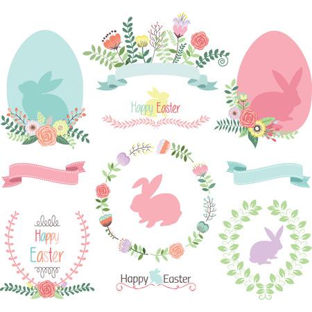 catholic: Easter Clip Art.Happy Easter.Easter Egg,Banner,Floral,Laurel,Wreath,Bunny collections. Illustration