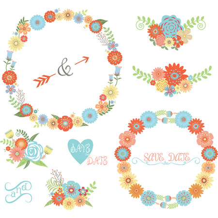 yellow flowers: Wedding Flower Elements set Illustration