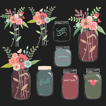 Chalkboard Mason Jar Wedding flower Collections Ilustracja