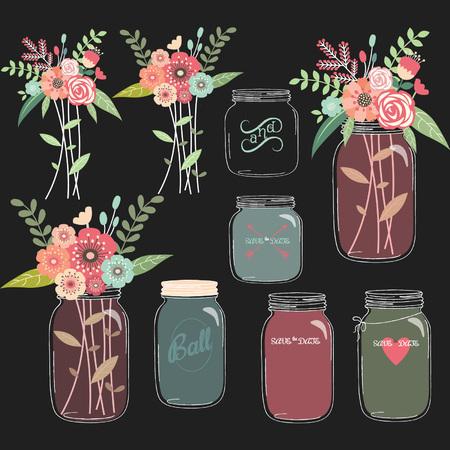 Chalkboard Mason Jar Wedding flower Collections Vectores