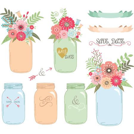Wedding flower Mason Jar,Hand Draw set Vector Illustration