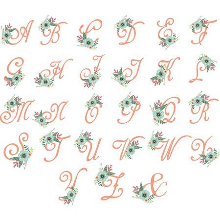 type lettering: Floral Monogram,Flowers Alphabet,Floral Alphabet,Wedding Flora Font Element Illustration