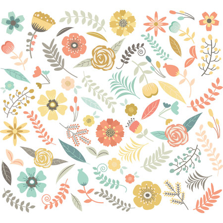 bunch of flowers: Wedding Floral Seamless Pattern Illustration