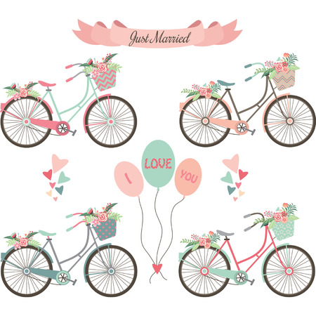 Hochzeit Fahrräder, Blumen, Banner, Elemente.