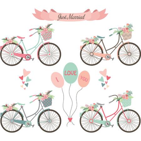 scarp: Wedding Bicycles,Flowers,Banner,Elements. Illustration