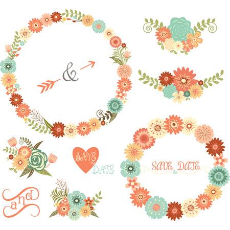 Wedding Floral Elements,Arrows,Flowers,Wreaths