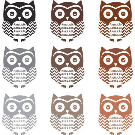 Vintage Cute Owl Silhouette set Illustration