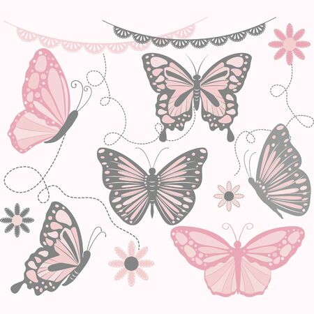 nursery room: Pink and Grey Butterfly Collections.Butterfly Silhouette,Flower,Lace Border,Invitations.