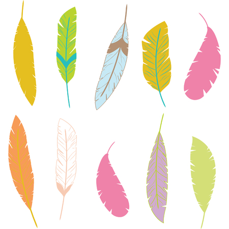 Colorful Aztec Feathers.Feathers Design Elements Illustration