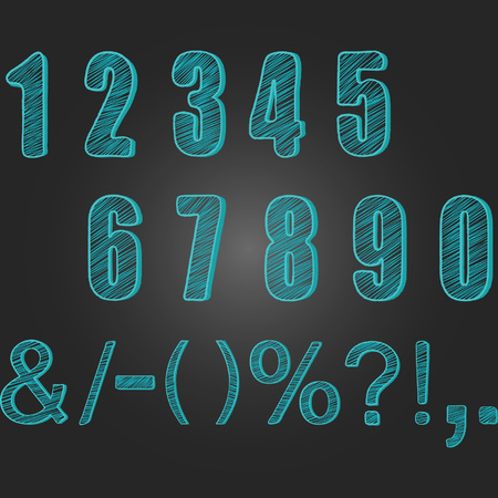 Chalkboard Numbers collections.Chalk Numbers Calligraphy,Font Element