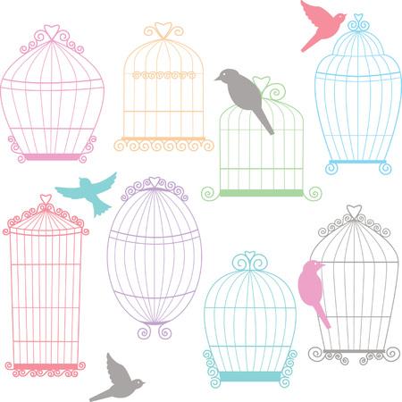 Birdcages, Birds Silhouette set