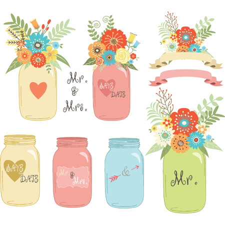 Wedding flower Mason Jar Illustration