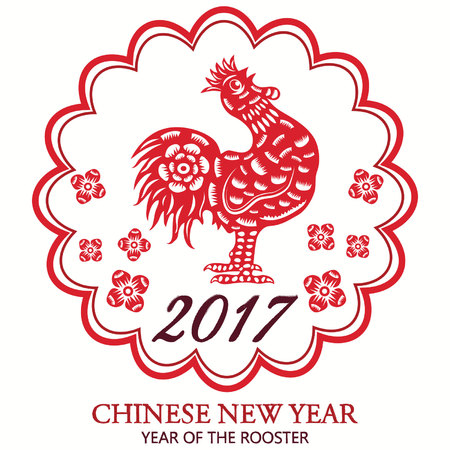 Chinese 2017 Lunar New Year Of Rooster,Chinese New Year,Rooster Calligraphy,Chinese Paper Cut Arts
