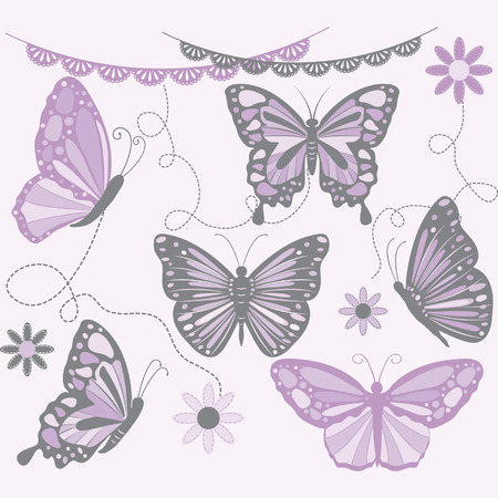 Purple and Grey Butterfly.Butterfly Silhouette,Flower,Lace Border. Illustration