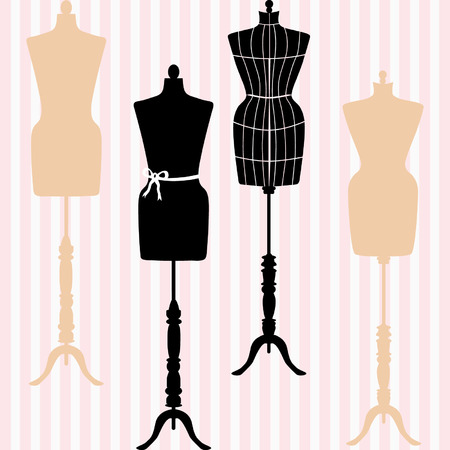 Mannequin Silhouette. Fashion, Dress Form. Tailor's Dummy, Shabby Chic Collection