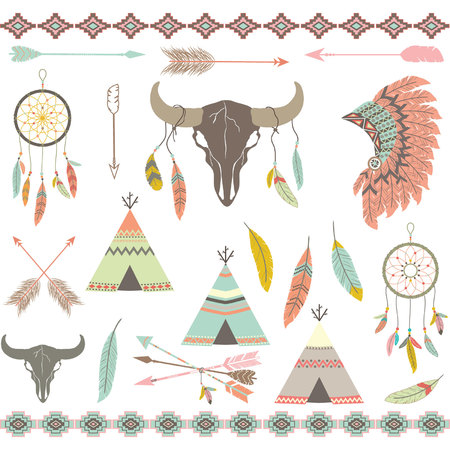 indian headdress: Tribal decorative Elements set.Feathers,Indian Dream Catcher,Arrow,Aztec Tribal,Feather Headdress,Teepee Tents,Skull. Illustration