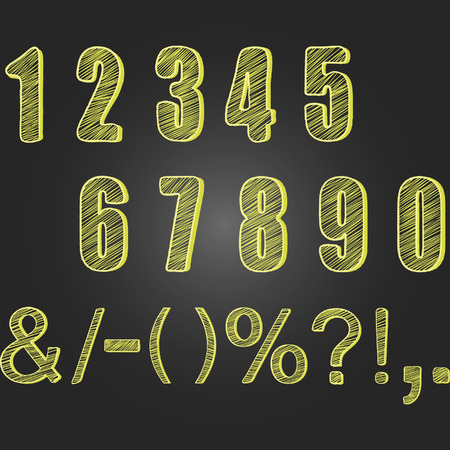 four classes: Chalkboard Numbers set.Chalk Numbers Calligraphy