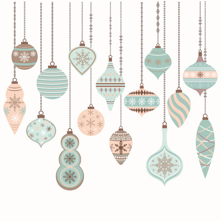 Christmas Ornaments,Christmas Balls Decorations, Christmas Hanging Decoration set.Vector illustration