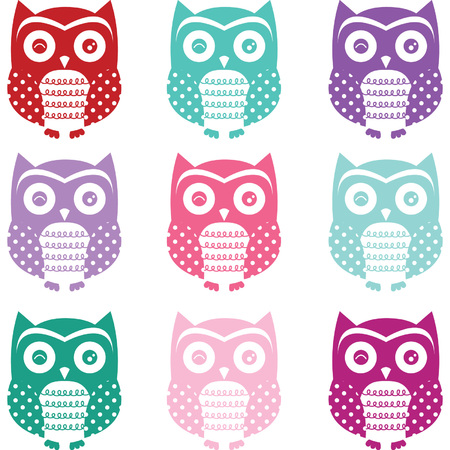 Colorful Cute Owl Silhouette Collections
