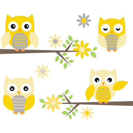 Cut Owl with Branches.Yellow and Grey Owl.Flowers Illustration