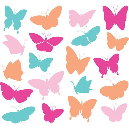Colorful Butterfly Collections.Butterfly Silhouette set