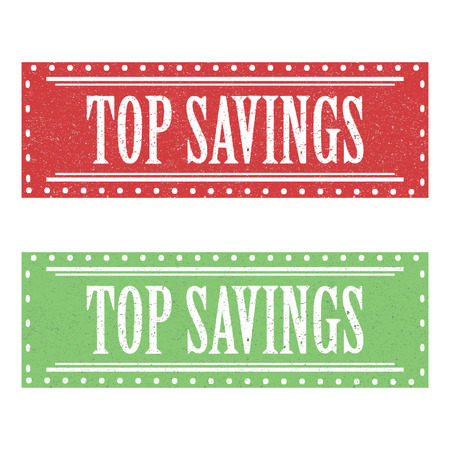 Top Savings Grunge Rubber Stamp.Red and White,Green and White Background
