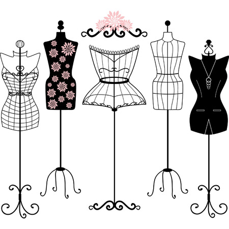 Mannequin Silhouette. Fashion,Shabby Chic, Body,Dress Form.Tailor's Dummy set
