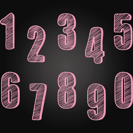 Chalkboard Numbers set.Hand Draw Chalk Numbers Calligraphy,Font Element